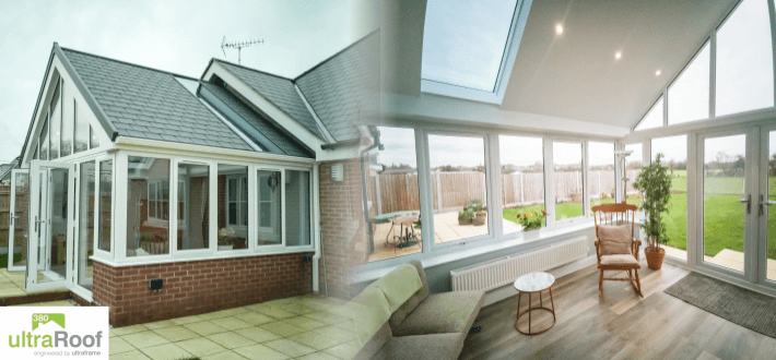 UltraROOF 380 - tiled roof incorporating full rectangle glass panels
