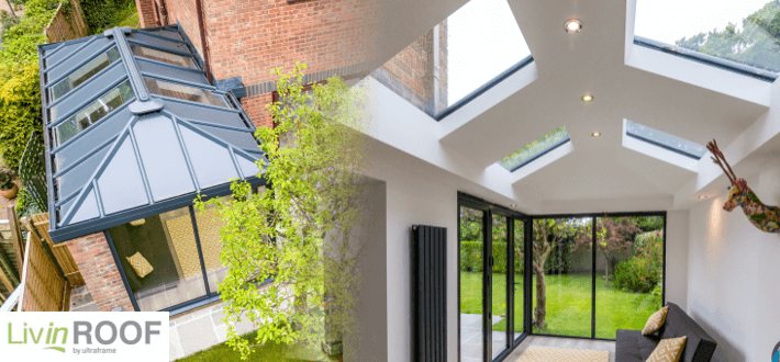 LivinROOF - combined glazed and solid roof solution.