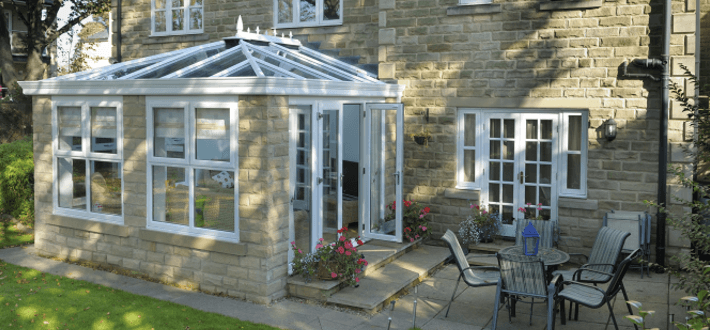 Orangeries fall somewhere between a conservatory and a traditional extension.